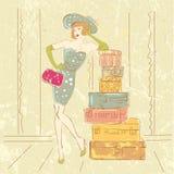 Donna retro con le valigie Fotografie Stock