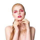donna retrospettiva di rassegna s del ritratto di secolo di 20 bellezze xx Bella ragazza di modello con pelle pulita fresca perfe Fotografia Stock