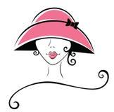 Donna riccia in un cappello Fotografia Stock Libera da Diritti