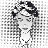 Donna rigorosa con i capelli di scarsità Fotografie Stock Libere da Diritti