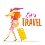 Donna rossa dei capelli del fumetto che viaggia con la valigia sulle vacanze estive Immagine Stock