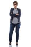 Donna rotondetta della foto in jeans con le armi attraversate Immagini Stock Libere da Diritti