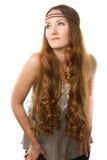 Donna russa con capelli molto lunghi immagine stock libera da diritti