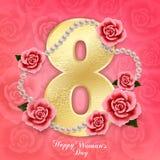 Donna ` s giorno 8 marzo felice con le rose, i cuori e le perle sul rosa fotografie stock