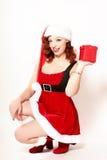 Donna in Santa Costume Fotografia Stock Libera da Diritti