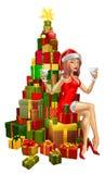 Donna Santa sulla pila di regali Immagine Stock Libera da Diritti