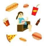 Donna sedentaria che mangia alimenti a rapida preparazione sullo strato illustrazione di stock