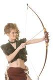 Donna selvaggia con l'arco Fotografia Stock Libera da Diritti