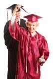 Donna senior alla sua graduation Immagine Stock