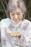 Donna senior asiatica che esamina le pillole Fotografie Stock