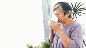 Donna senior asiatica sola infelice con una tazza di caffè sola a casa, movimento lento stock footage
