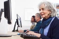 Donna senior che assiste alla classe del computer immagine stock libera da diritti