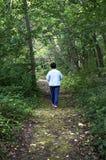 Donna senior che cammina giù un sentiero nel bosco Fotografie Stock