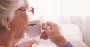 Donna senior che mangia una tazza di tè stock footage