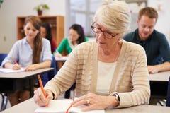 Donna senior che studia ad una classe di corsi per adulti immagini stock libere da diritti