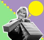 Donna senior felice con i sacchetti della spesa, collage di arte Fotografia Stock Libera da Diritti