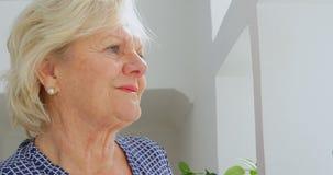 Donna senior premurosa a casa 4k stock footage