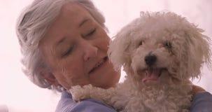 Donna senior sorridente che tiene un cane stock footage
