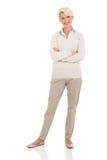 Donna senior su bianco Fotografia Stock Libera da Diritti