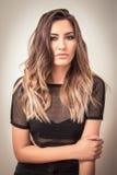 Donna sensuale con i capelli biondi del ombre Fotografia Stock Libera da Diritti