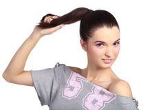 Donna sensuale con il ponytail Fotografia Stock Libera da Diritti