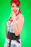 Donna sensuale sorridente. Stile alto e retro di Pin. Fotografia Stock