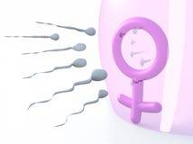 Donna sessuale di simbolo protetta dal lattice e dagli spermi Fotografia Stock Libera da Diritti