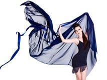 Donna sexy alla moda con chiffon Fotografie Stock Libere da Diritti