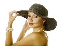 Donna sexy in cappello Immagine Stock Libera da Diritti