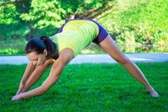 Donna sexy che fa allungando gli esercizi in parco immagine stock