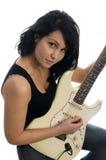 Donna sexy che gioca chitarra fotografia stock