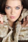 Donna sexy che porta pelliccia marrone Immagini Stock Libere da Diritti
