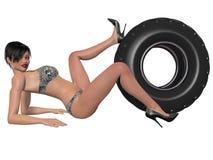 Donna sexy che posa con la ruota Fotografia Stock Libera da Diritti