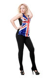 Donna sexy che propone in camicia della unione-bandierina Immagine Stock
