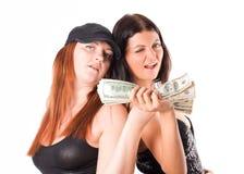 Donna sexy con i dollari fotografie stock