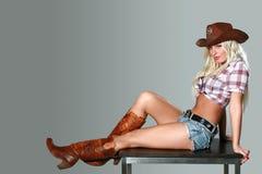 Donna sexy con il cappello di cowboy Fotografie Stock