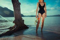 Donna sexy con immergersi ingranaggio Immagine Stock Libera da Diritti