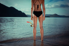 Donna sexy con immergersi ingranaggio Fotografia Stock Libera da Diritti
