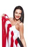 Donna sexy con la bandiera degli S.U.A., insegna a stelle e strisce Immagine Stock Libera da Diritti