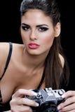 Donna sexy con la macchina fotografica Immagine Stock