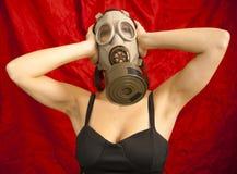Donna sexy con la maschera antigas Immagini Stock