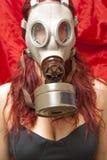 Donna sexy con la maschera antigas Fotografia Stock Libera da Diritti