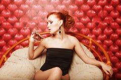 Donna sexy con la mascherina Fotografia Stock