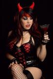 Donna sexy in costume del diavolo Fotografia Stock Libera da Diritti