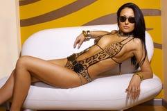 Donna sexy del Brunette Fotografie Stock