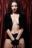 Donna sexy del brunette che propone in biancheria Immagini Stock