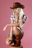 donna sexy del cappello di cowboy Immagini Stock
