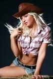 donna sexy del cappello di cowboy Fotografie Stock