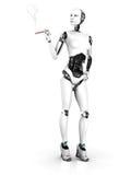 Donna sexy del robot che fuma un nr 1. del sigaro. Fotografie Stock Libere da Diritti