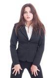 Donna sexy di affari che agisce impertinente Immagini Stock Libere da Diritti